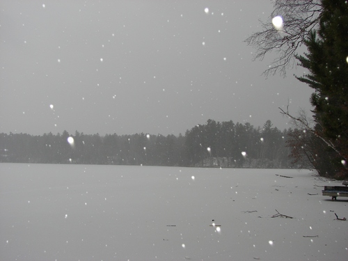 Snow covering the lake