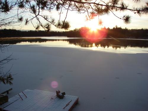 The ice crept across the lake last night
