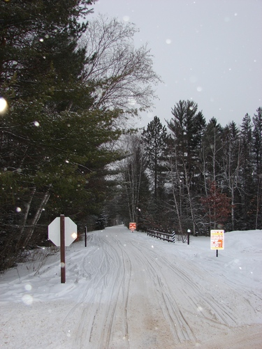 Bearskin trail covered in snow and ready to snowmobile on