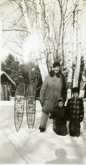 These snow shoes hang on the wall in the lodge to this day